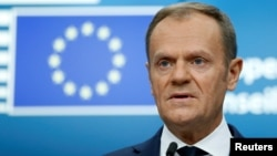 European Council President Donald Tusk addresses a news conference during a European Union leaders summit in Brussels, Belgium, Dec. 15, 2017.