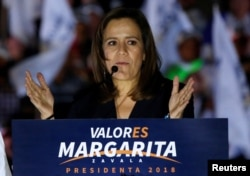 Independent presidential candidate Margarita Zavala addresses supporters during a campaign kick-off for the July 1 presidential election at the Angel of Independence monument in Mexico City, March 30, 2018.