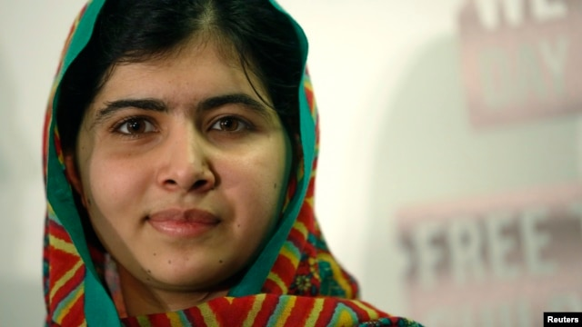 FILE - Malala Yousafzai during a news conference in London, March 7, 2014.