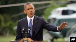 美国总统奥巴马6月13日在白宫南草坪就伊拉克局势发表讲话