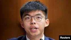 資料照片-香港活動人士黃之鋒在華盛頓國會山出席關於香港抗議活動的國會聽證會。 (2019年9月17日)