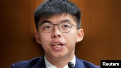 香港活動人士黃之鋒在華盛頓國會山出席關於香港抗議活動的國會聽證會。(2019年9月17日)