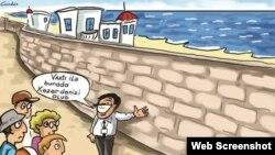 Xəzərin sahili hasarlanıb (Karikatura rəssam Gündüz İsmayılovundur)