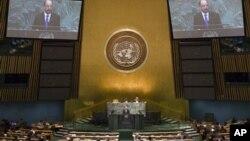 뉴욕에서 열리고 있는 유엔총회 회의 장면