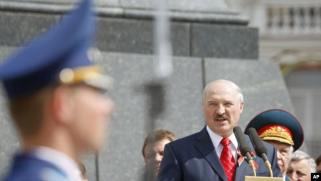 Belarus' President Alexander Lukashenko speaks at Victory Square in Minsk to celebrate the 66th anniversary of the World War II victory over Nazi Germany, May 9, 2011