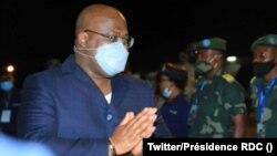 Le président Félix Tshisekedi après son atterrissage à l'aéroport de Bunia, Ituri, RDC, le 17 juin 2021. (Twitter/Présidence de la RDC)