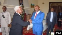 Le président burundais Pierre Nkurunziza rencontre les représentants du Conseil de sécurité de l'ONU, le 22 janvier 2016.