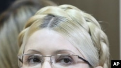 Former Ukrainian Prime Minister Yulia Tymoshenko during her trial, at the Pecherskiy District Court in Kyiv, Ukraine, Oct. 11, 2011.