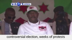 VOA60 Africa - Burundi President Pierre Nkurunziza is sworn in for a third term - August 20, 2015