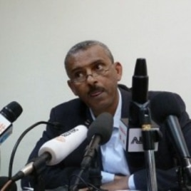 Ethiopian government spokesman, Shimeles Kemal speaks in Addis Ababa on March 15, 2012, where he announced that Ethiopia had attacked an Eritrean military base today, where rebel groups are armed and trained by the Eritrean government.