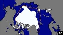 La imagen del Centro Nacional de Información sobre Nieve y Hielo, muestra la extensión del hielo en el Árctico en blanco, al 13 de septiembre de 2012 y la linea naranja mmuestra cual era la extensión entre 1981 y 2010.