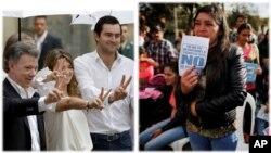 رئیس جمهور کلمبیا (چپ) به تأیید توافقنامۀ صلح اش از سوی مردم، بسیار امیدوار بود.