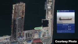 지난해 7월과 8월 두 차례 북한 남포에 기항한 '신성하이' 호(녹색으로 표시된 선박)가 같은 해 10월27일 포항신항 제8부두 인근에 정박한 모습. 자료=마린트래픽(MarineTraffic)