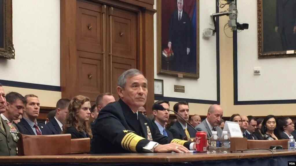 Đô đốc Harry Harris phát biểu trước trước Ủy ban Quân vụ Hạ viện Mỹ hôm 14/2 về ảnh hưởng của Trung Quốc trong khu vực.
