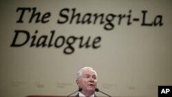 蓋茨在新加坡發表講話。