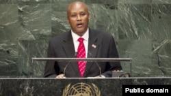 Bazombanza Prosper, ari icegera c'umukuru w'igihugu, ageza ijambo ku nteko rusanga ya ONU muri 2014.