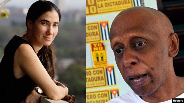 La bloguera cubana Yoani Sánchez y el disidente Guillermo Fariñas, Premio Sajarov 2010.