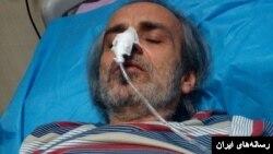 عکسی از آقای کبودوند روی تخت بیمارستان بعد از اعتصاب غذا.