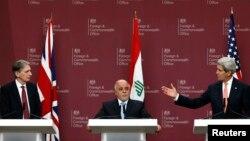 Wezîrê Derve yê Britanî Philip Hammond, Serokwezîrê Îraqê Haider al-Abadi û Wezîrê Derve yê Amerîka John Kerry