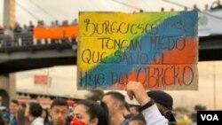 Las protestas han sido convocadas por sindicatos, grupos estudiantiles y organizaciones indígenas. Foto: Karen Sánchez / VOA.