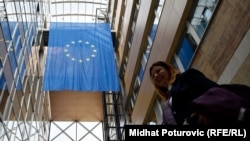 Bosnia and Herzegovina -- The flag of European Union (EU) inside the building of the Delegation of EU in Bosnia and Herzegovina, in Sarajevo, March 17, 2017