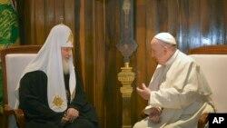 Патриарх Кирилл и Папа Римский Франциск. Гавана, Куба. 12 февраля 2016 г.