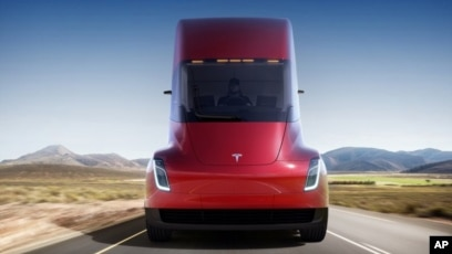 This Photo Provided By Tesla Shows The Front Of New Electric Semitractor Trailer Unveiled