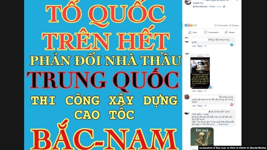 Lời phản đối nhà thầu Trung Quốc xây cao tốc mới ở Việt Nam xuất hiện trên một diễn đàn mạng, 28/5/2019