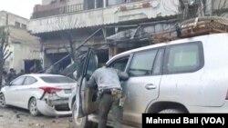 16일 시리아 북부 만비즈의 폭탄 테러 현장.