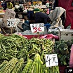 北京农贸市场一角 物价上涨招致民怨