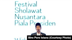 Presiden Joko Widodo membuka Festival Sholawat Nusantara Piala Presiden 2018 di Sentul, Bogor, Sabtu, 24 Februari 2018. (Foto:Biro Pers Istana)