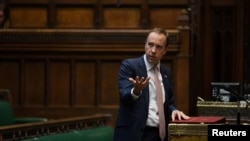 Britain's Health Secretary Matt Hancock makes a statement on the COVID-19 in the House of Commons, in London, Sept. 21, 2020. (Credit: UK Parliament/Jessica Taylor/Handout)