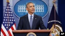 Tổng thống Barack Obama phát biểu trong cuộc họp báo ngày 18/1/2017 tại Tòa Bạch Ốc ở Thủ đô Washington.