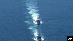 미한 합동 해상 군사훈련 (자료사진)