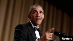 این آخرین حضور باراک اوباما در ضیافت کانون خبرنگاران آمریکا در مقام ریاست جمهوری است.