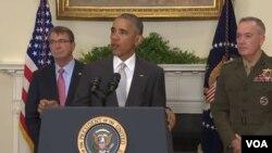 در نشست خبری چهارشنبه، اشتون کارتر و یکی از ژنرالهای ارتش آمریکا اوباما را همراهی کردند.