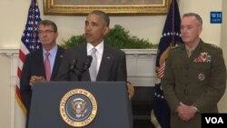 Le président Barcak Obama aux côtés du chef du Pentagone Ashton Carter