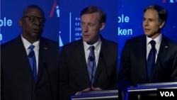 美國國防部長奧斯汀(左)、國家安全部問沙利文(中)和美國國務卿布林肯(右)2021年7月13日在華盛頓出席全球技術峰會