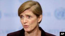 사만다 파워 유엔주재 미국대사가 지난 3월 뉴욕 유엔 본부에서 기자회견을 열고, 안보리의 새 대북제재 결의에 대한 미국 정부의 입장을 밝히고 있다. (자료사진)