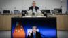 北约秘书长斯托尔滕贝格(Jens Stoltenberg)2021年9月27日与中国国务委员兼外长王毅举行视讯对话(北约照片)