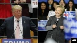 超级星期二的前一天,共和党总统参选人川普(左)在弗吉尼亚州、民主党总统参选人克林顿在麻萨诸塞分别开展竞选活动。(2016年2月29日)