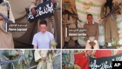 Photos released April 27, 2011 by Al-Qaeda in the Islamic Maghreb (AQIM) and broadcast on Al-Andalus TV channel shows (clockwise from top L) Pierre Legrand, Daniel Larribe, Thierry Dol and Marc Furrer, the four French hostages captured last September in