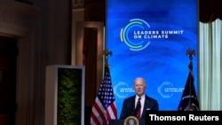 조 바이든 미국 대통령이 22일 온라인으로 개막한 기후정상회의에서 연설하고 있다.