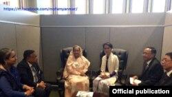 ဘဂၤလားေဒ့ရွ္ႏုိင္ငံ ၀န္ၾကီးခ်ဳပ္ H.E. Ms. Sheikh Hasina ႏွင့္ေတြ႕ဆံုစဥ္