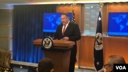 美国国务卿蓬佩奥2019年3月13日在国务院举行的《2018人权国别报告》的发布会上。