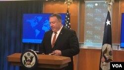 Menteri Luar Negeri Amerika, Mike Pompeo, menyampaikan Laporan terkait Praktik HAM tahun 2018 di Kantor Deplu AS, Washington, D.C., 14 Maret 2019. (Foto: dok).