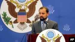 FILE - U.S. Special Envoy for the Great Lakes Region Tom Perriello speaks at a press conference in Bujumbura, Burundi, Nov. 10, 2015.
