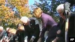 华盛顿举行残疾退伍军人纪念碑的奠基仪式