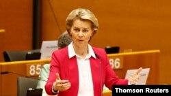 우르줄라 폰데어라이엔 EU 집행위원장이 27일 벨기에 브뤼셀에서 열린 유럽의회 회의에서 연설했다.