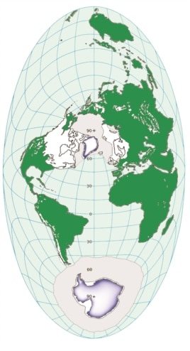 Earth during the Ice Age 23,000 years ago with large ice sheets covering the Northern Hemisphere. (Credit: Anders Carlson)